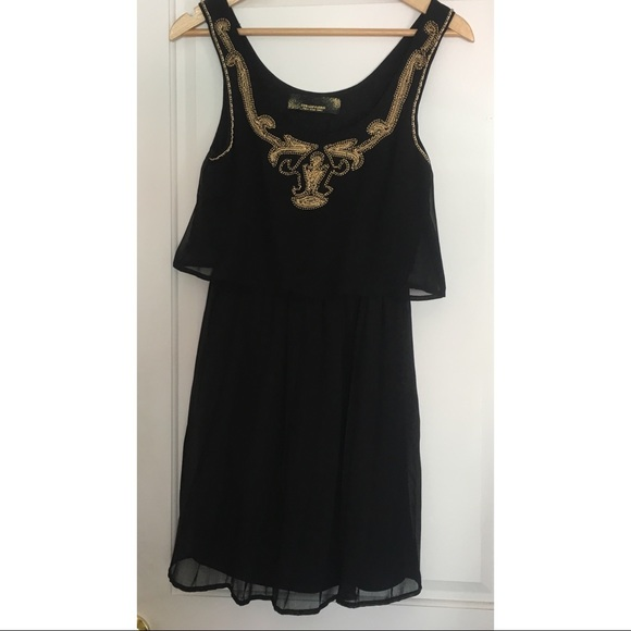 Black and Gold Knee Length Dress